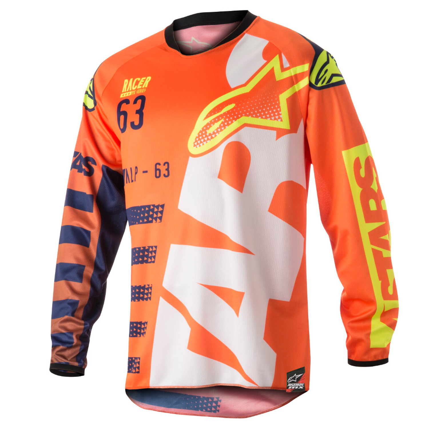 Alpinestars-Kids-Jersey-Racer-Braap-Fluo-Orange-Dunkelblau-Weiss