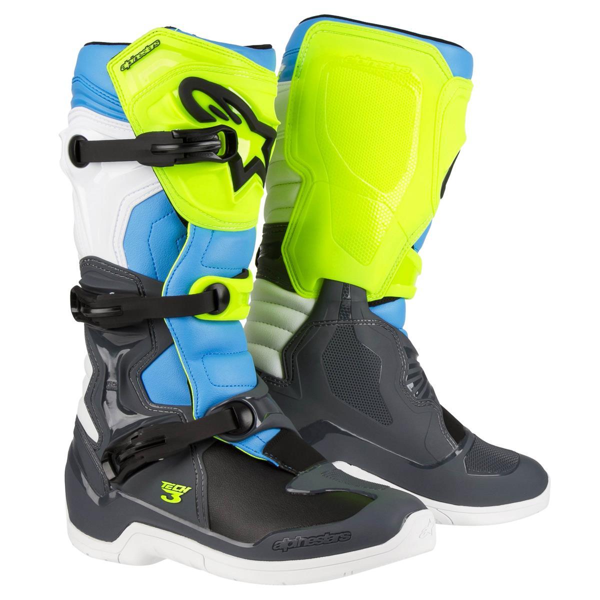 Alpinestars Motocross-Stiefel Tech 3 Cool Grau/Gelb/Fluo Cyan