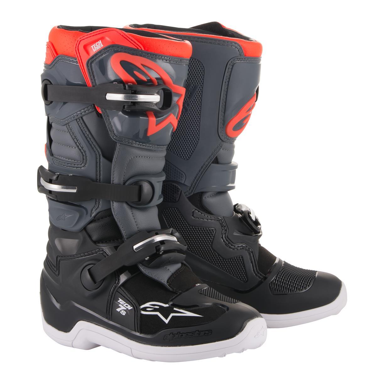Alpinestars Kids Motocross-Stiefel Tech 7S Schwarz/Dunkelgrau/Rot Fluo