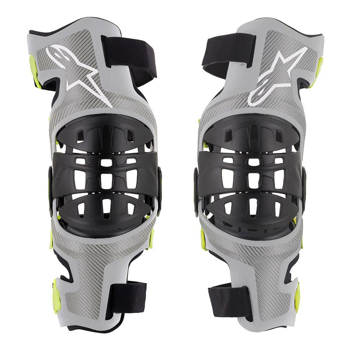 Mx Knee Braces >> Alpinestars Knee Brace Bionic 7 Set Silver Fluo Yellow