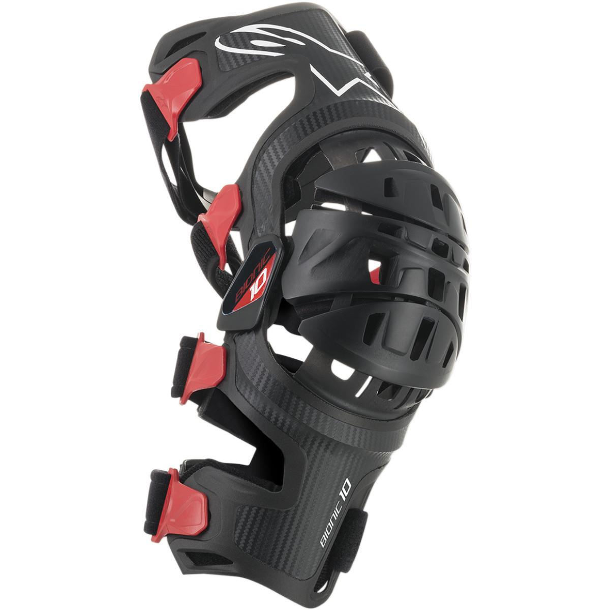 Mx Knee Braces >> Alpinestars Knee Brace Bionic 10 Carbon Left Black Red
