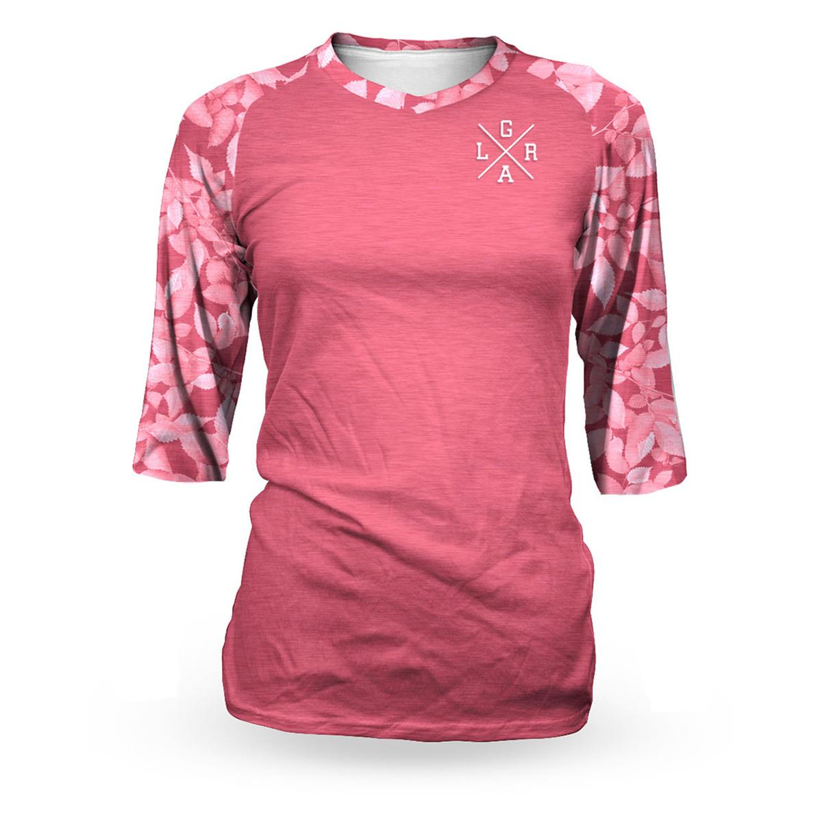 Loose Riders Girls Bike-Jersey 3/4-Arm  Leaves - Pink