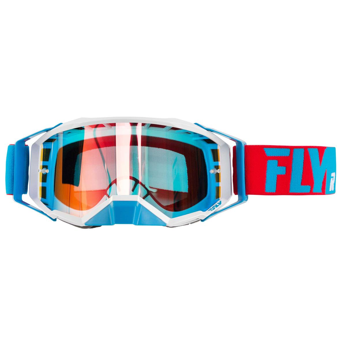 Fly Racing Crossbrille Zone Pro Rot/Weiß/Blau - Rot Klar