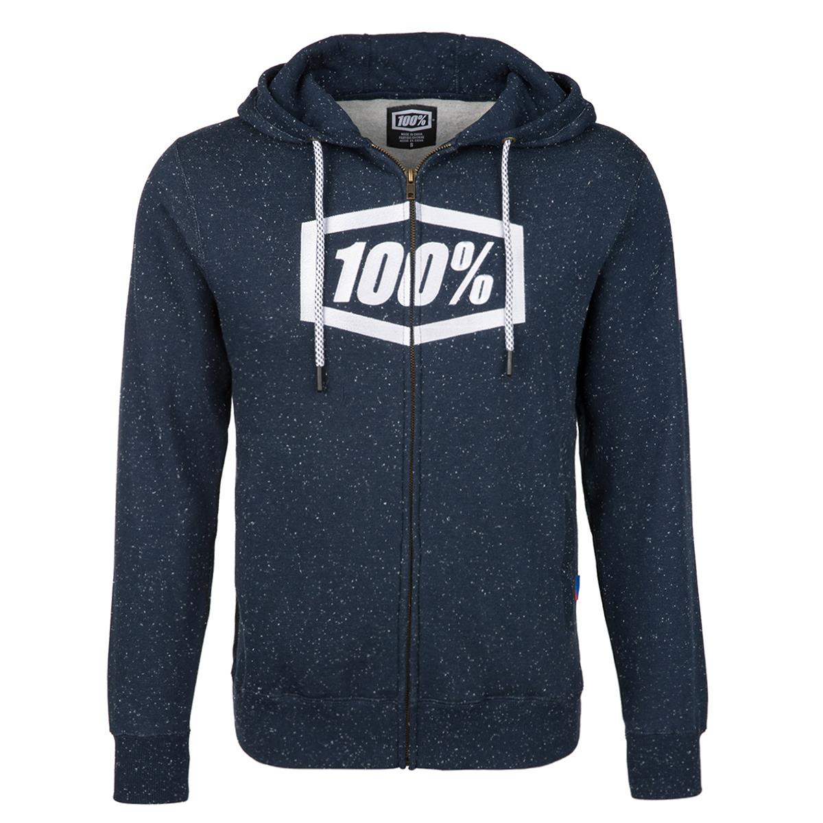 100% Zip-Hoody Syndicate Navy/Weiß