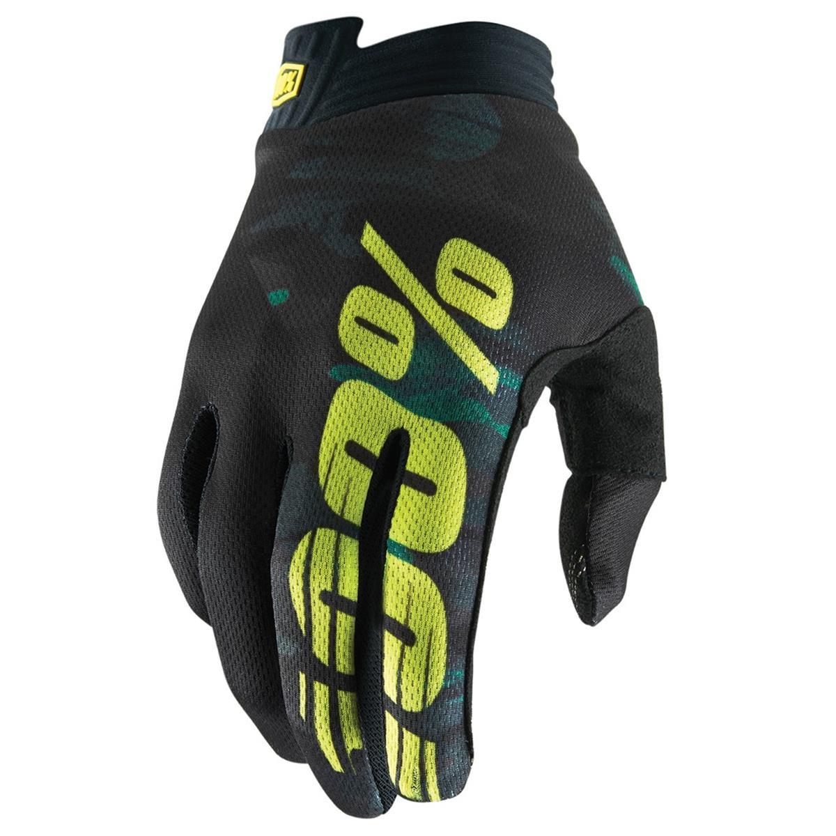100% Bike-Handschuhe iTrack Camo Schwarz/Grün