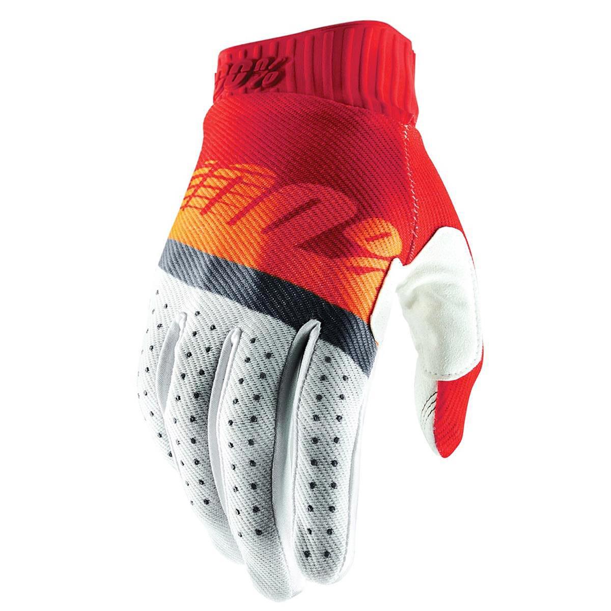 100% Bike-Handschuhe Ridefit Rot/Fluo Orange/Slate Blue