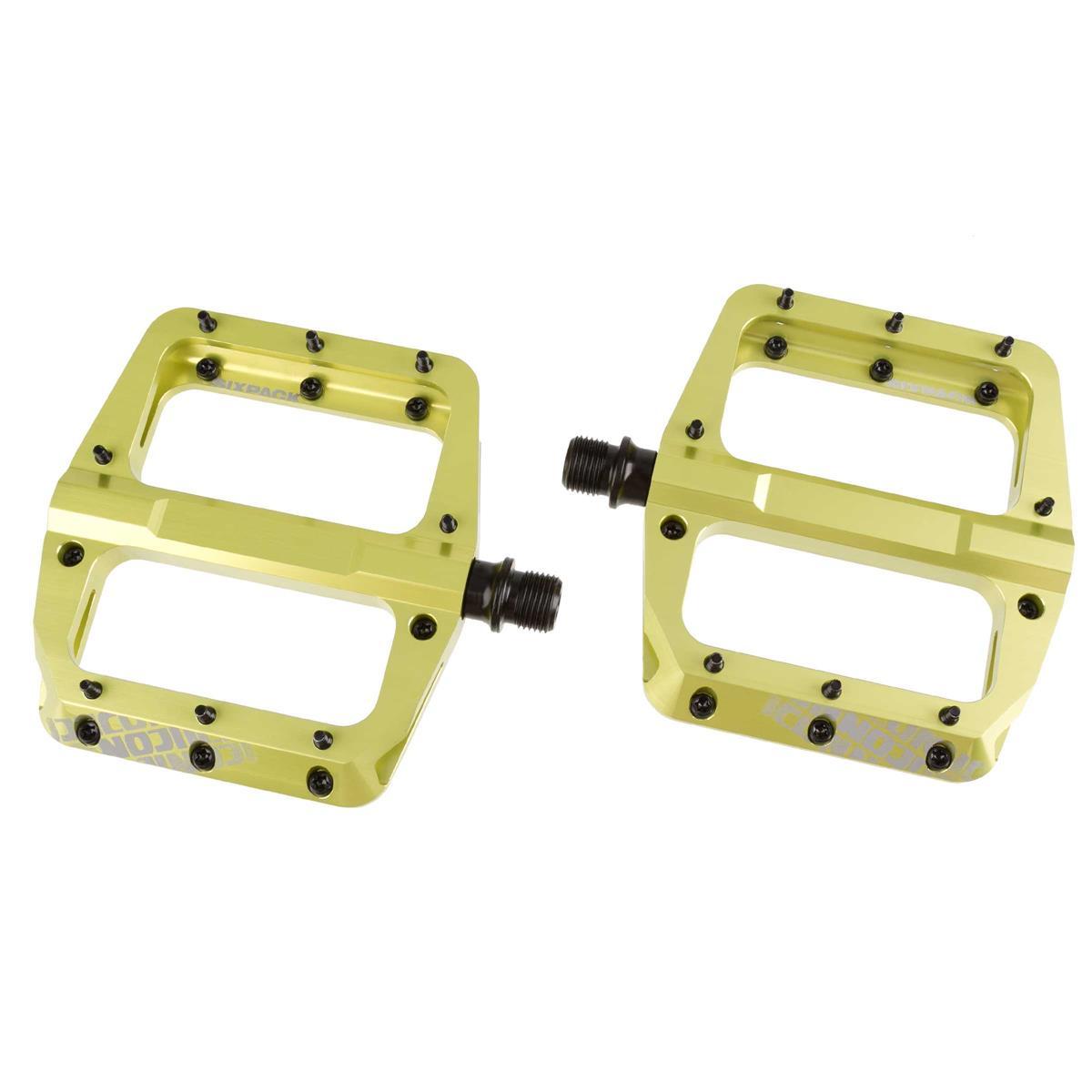Sixpack Plattform-Pedal Icon 2.0 Electric Green, 100x110 mm, 32 M4 Torx Pins, 1 Paar