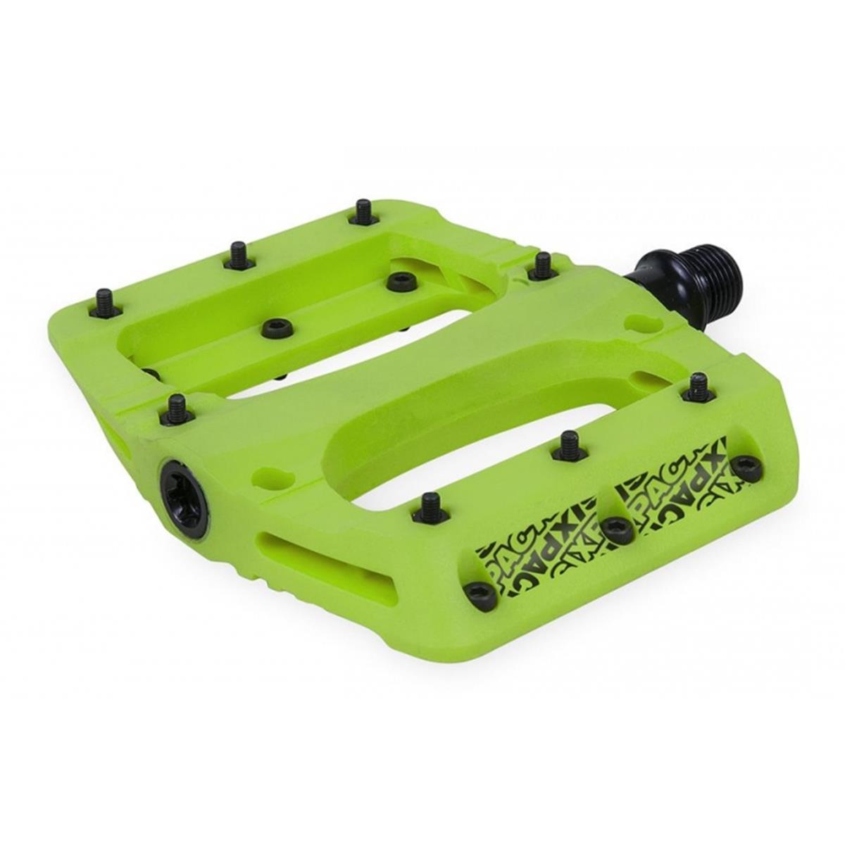 Sixpack Plattform-Pedal Vegas Neongrün, 95x110 mm Plattform, 32 M3 Pins, 1 Paar