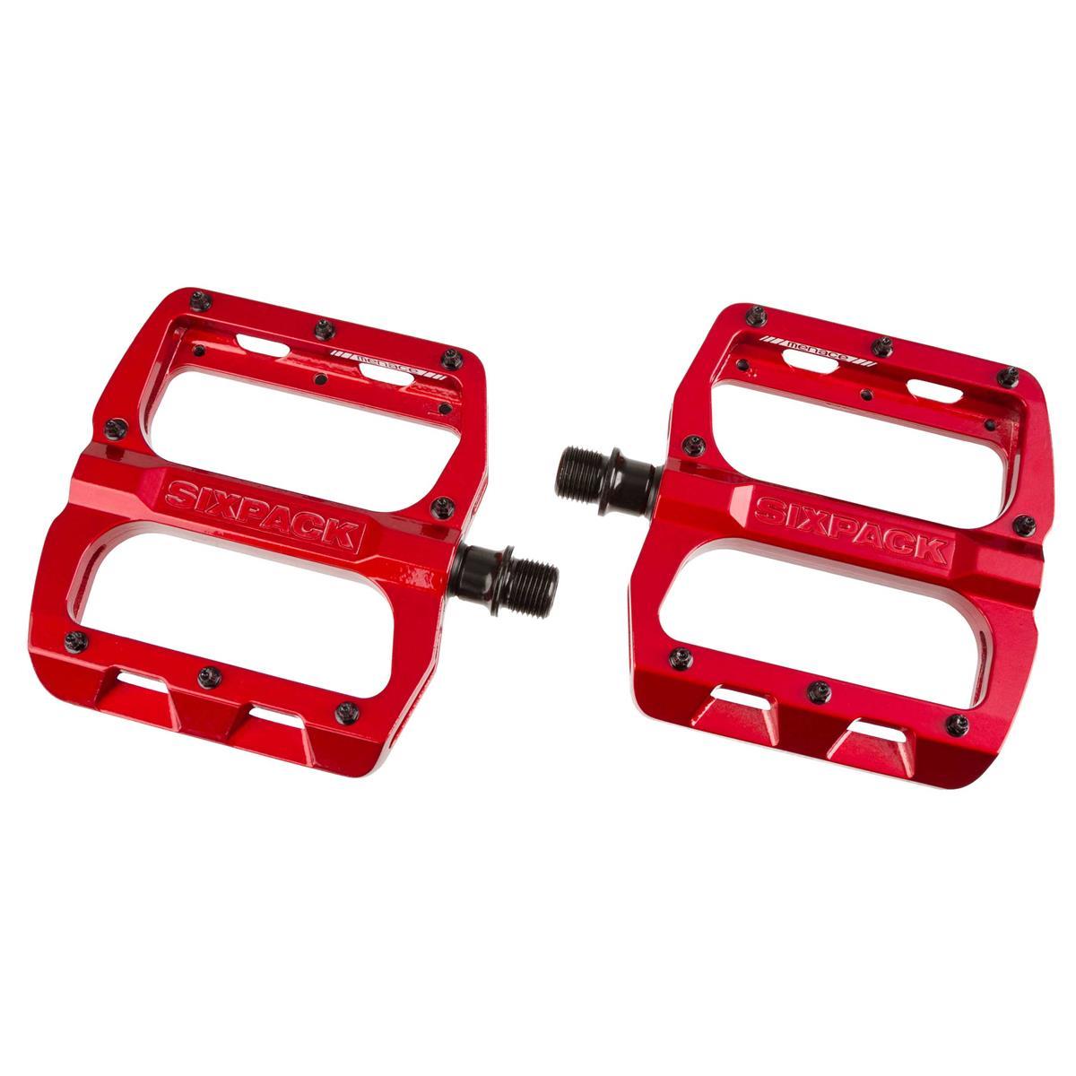 Sixpack Plattform-Pedal Menace Rot, 95x110 mm Plattform, 28 M4 Pins, 1 Paar