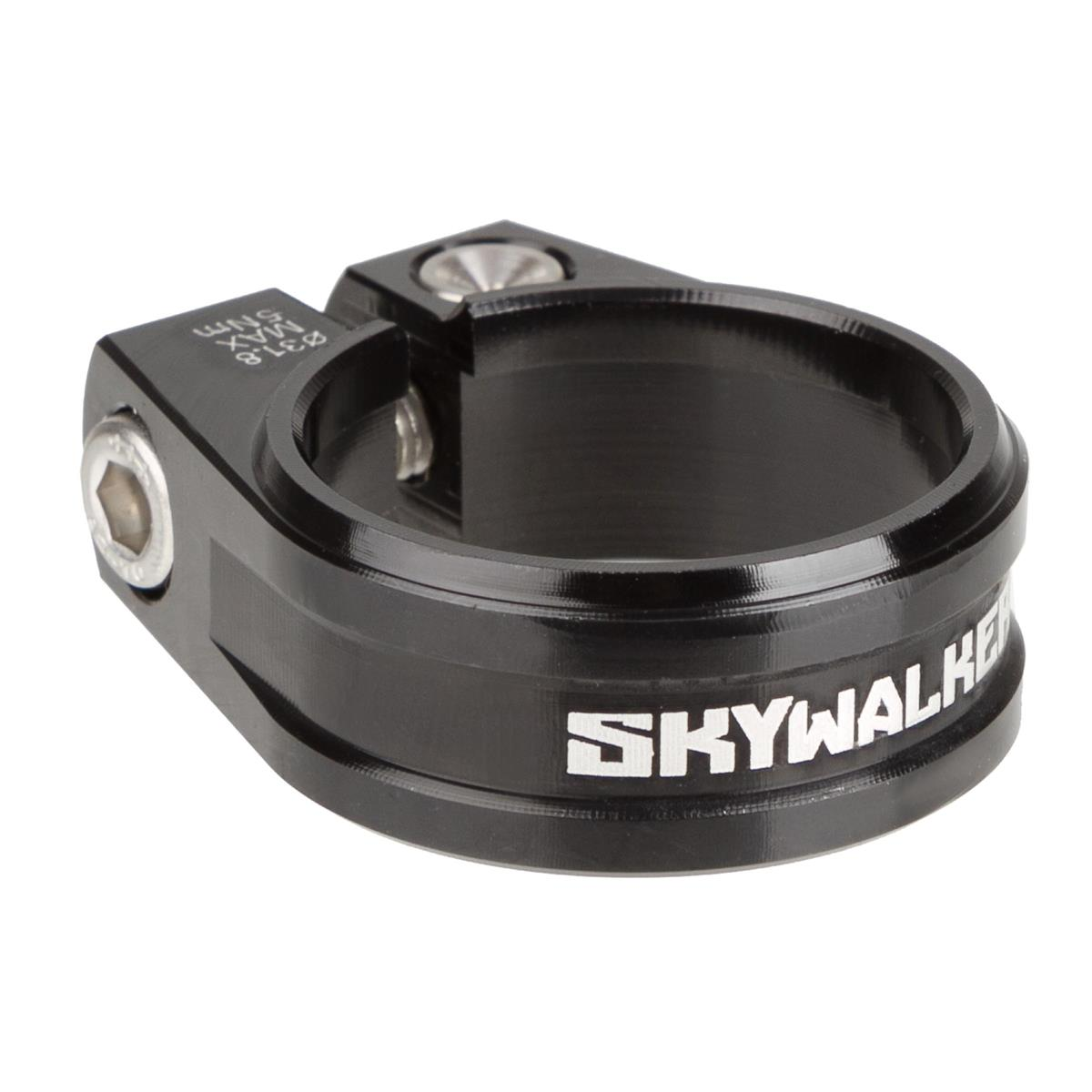 Sixpack Sattelklemme Skywalker 31.8 Schwarz, CNC Aluminium, 31.8 mm