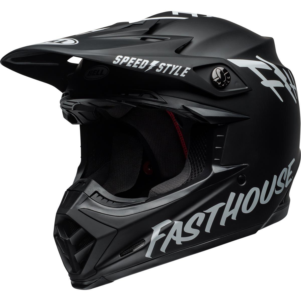 Bell Helm Moto-9 MIPS Fasthouse - Schwarz/Weiß