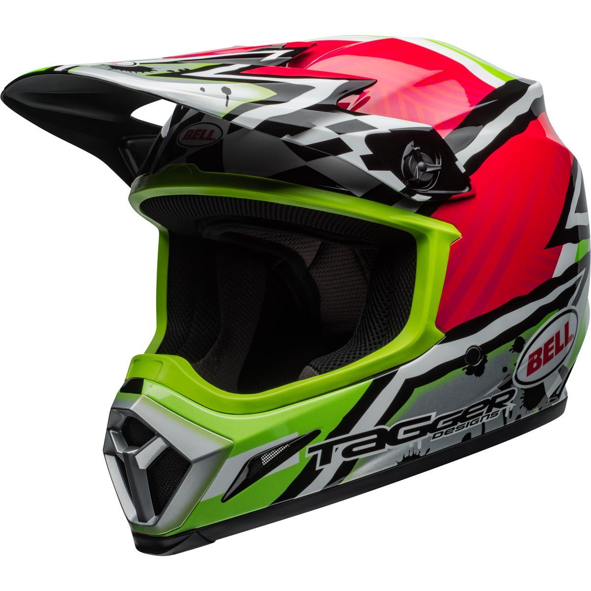 Bell Helm MX-9 MIPS Tagger Asymetric - Pink/Grün