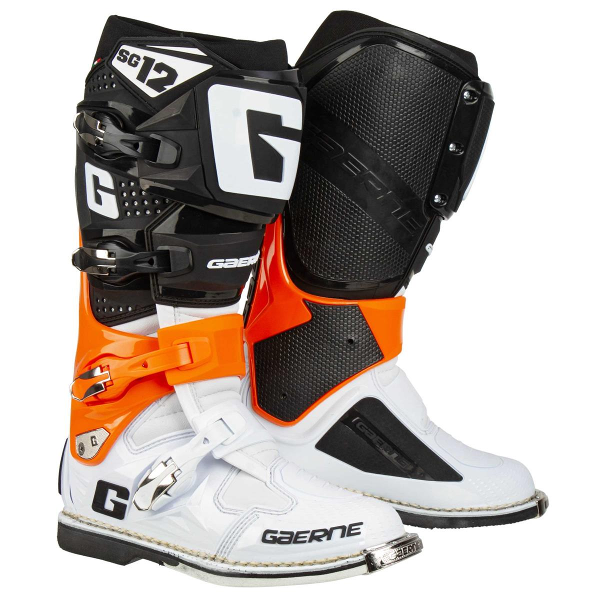 Gaerne Motocross-Stiefel SG 12 Orange/Schwarz/Weiß