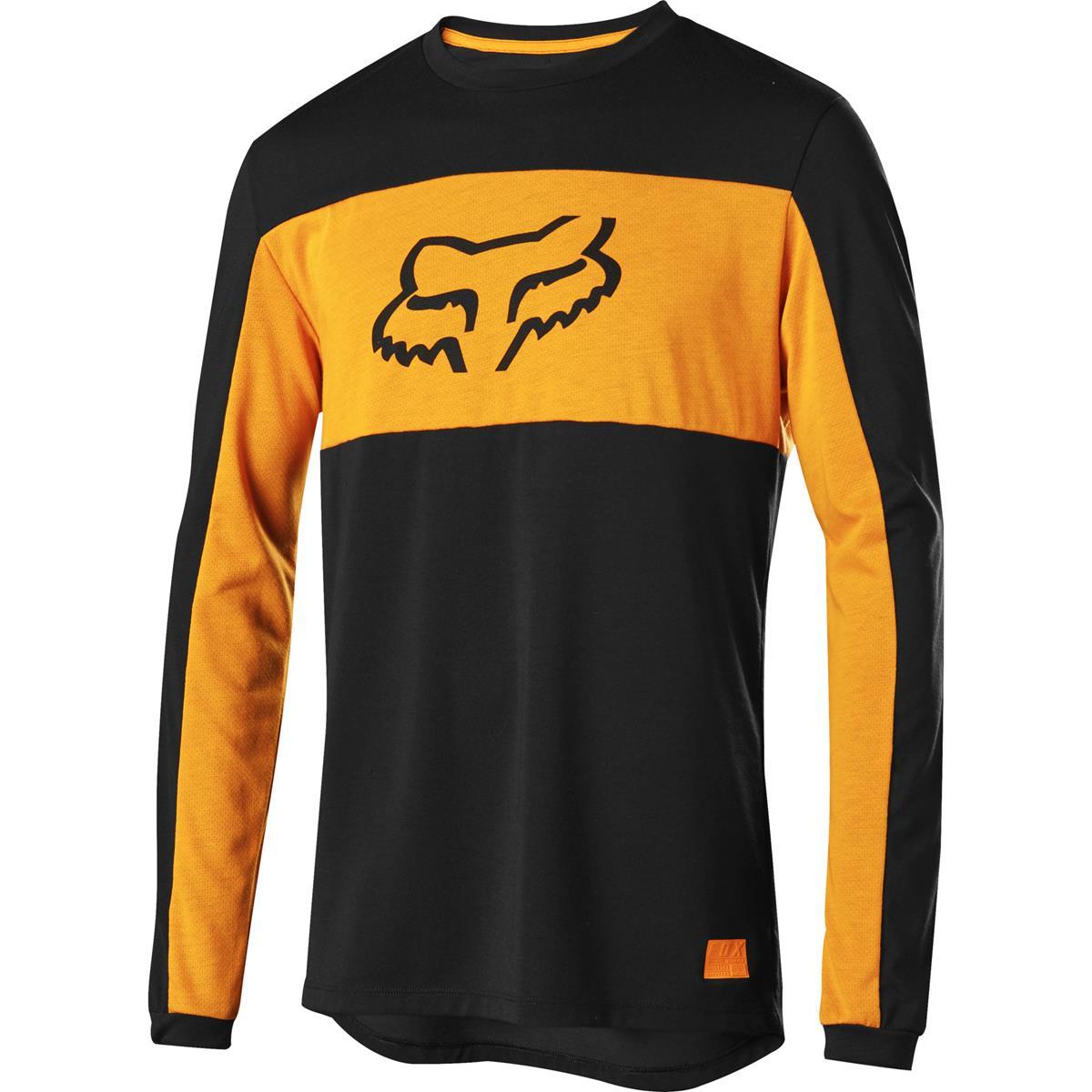 Fox Downhill-Jersey Langarm Ranger Dr Foxhead Schwarz/Orange