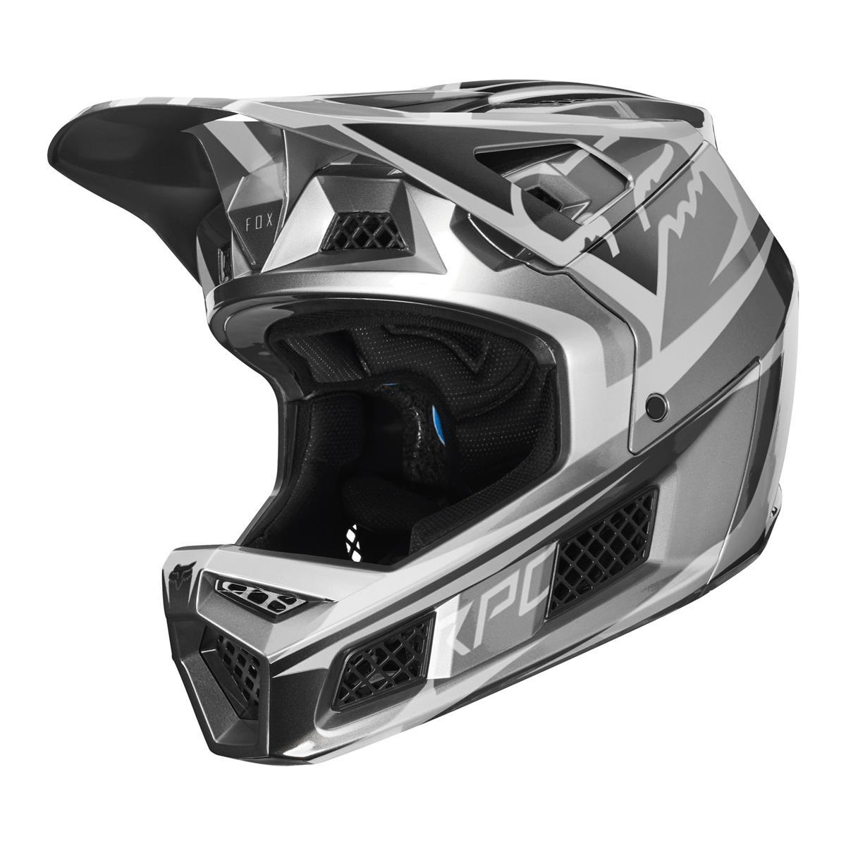 Fox Downhill-MTB Helm Rampage Pro Carbon Metallic Silver