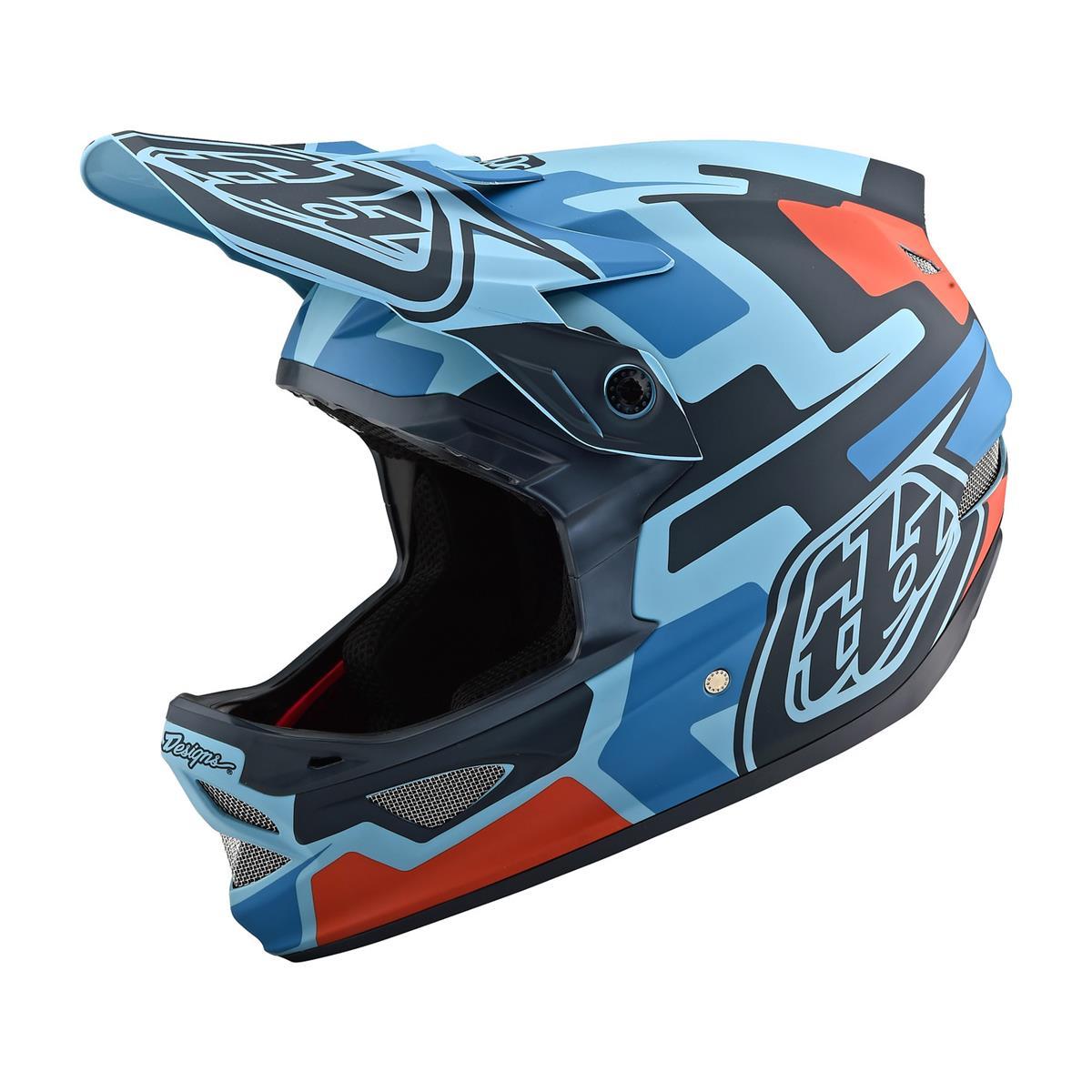 Troy Lee Designs Downhill-MTB-Helm D3 Fiberlite Speedcode - Blau/Schwarz