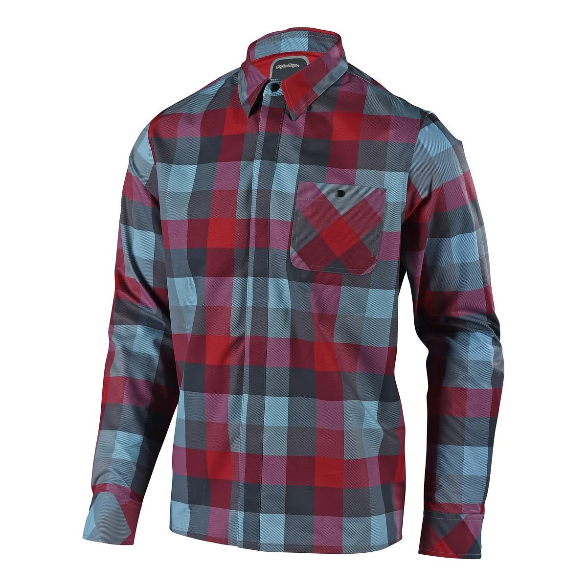 Troy Lee Designs Trail-Jersey Langarm Grind Flannel Plaid Rot