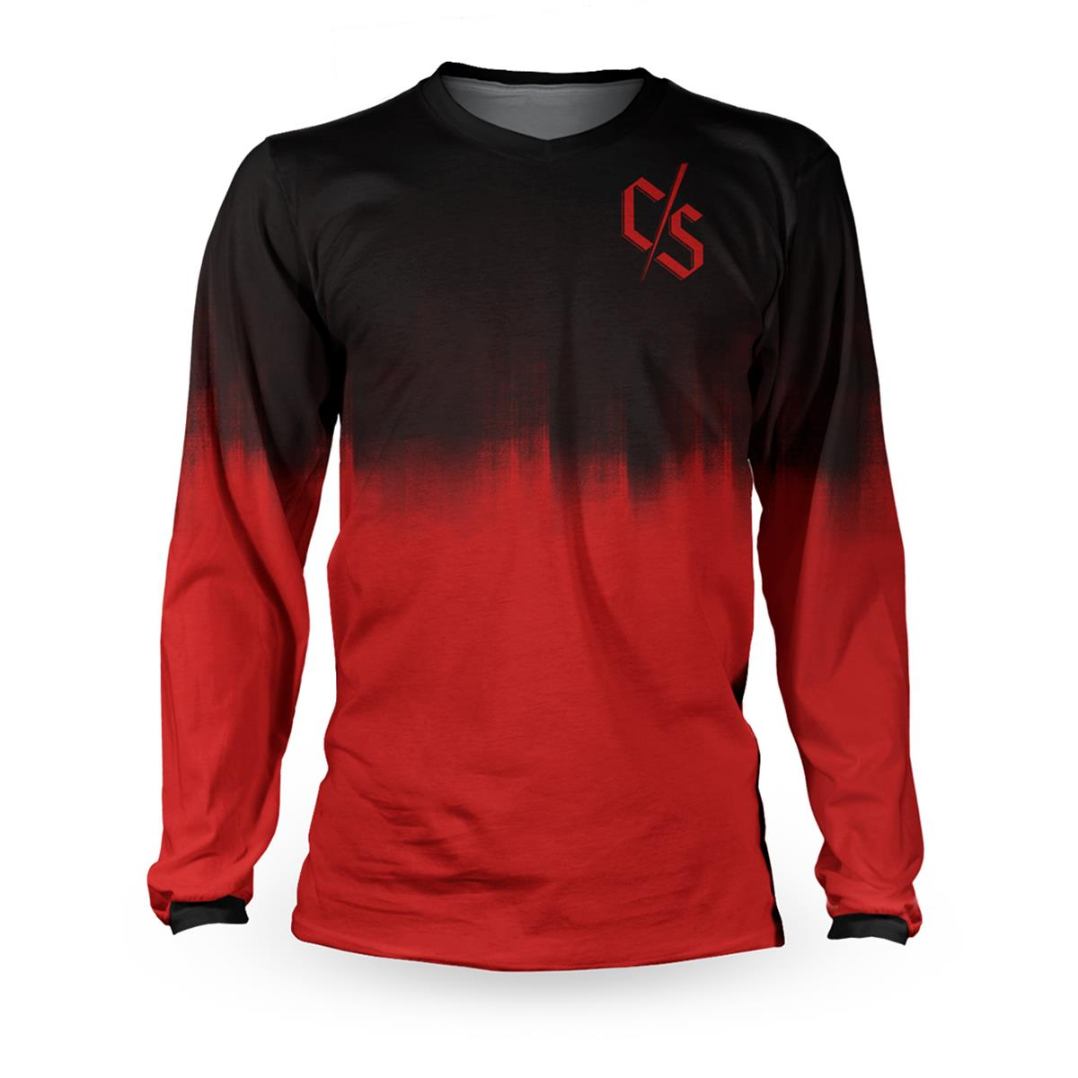 Loose Riders Downhill-Jersey Langarm C/S Dipped Schwarz/Rot