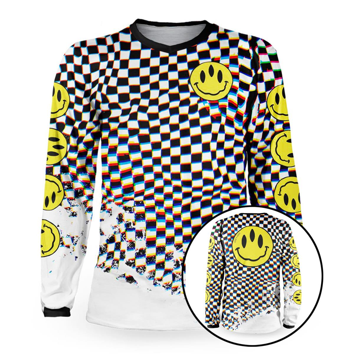 Loose Riders Downhill-Jersey Langarm Cult Of Shred Stoked! - Schwarz/Weiß