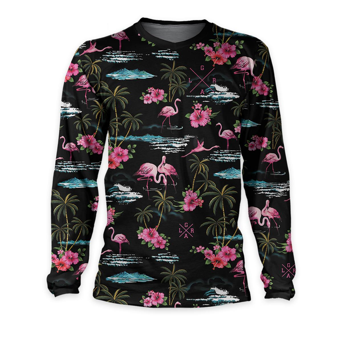 Loose Riders Downhill-Jersey Langarm Cult of Shred Pink Flamingos - Schwarz/Pink