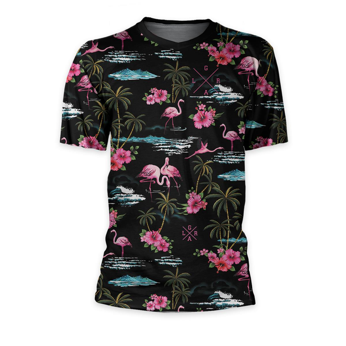 Loose Riders Trail-Jersey Kurzarm Cult of Shred Pink Flamingos - Schwarz/Pink