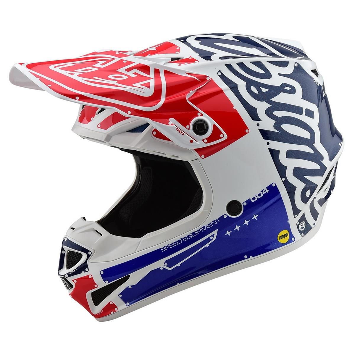 Troy Lee Designs Helm SE4 Polyacrylite MIPS Factory - Weiß/Blau