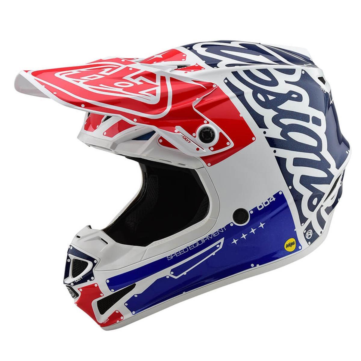 Troy Lee Designs Kids Helm SE4 Polyacrylite MIPS Factoy - Weiß/Blau