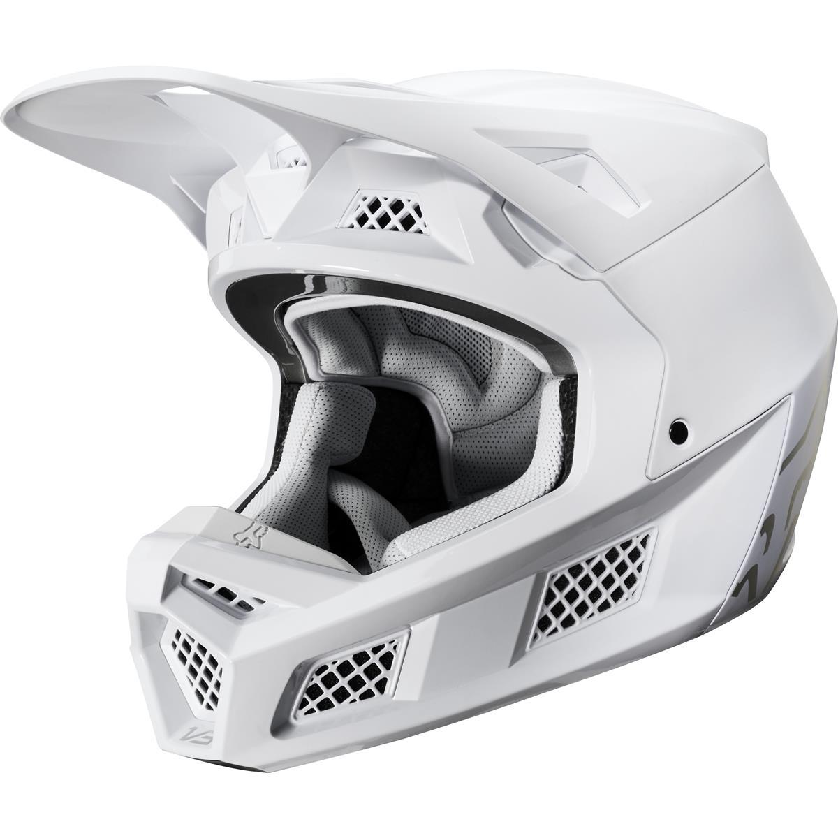 Fox MX Helm V3 Solid - Weiß/Silber
