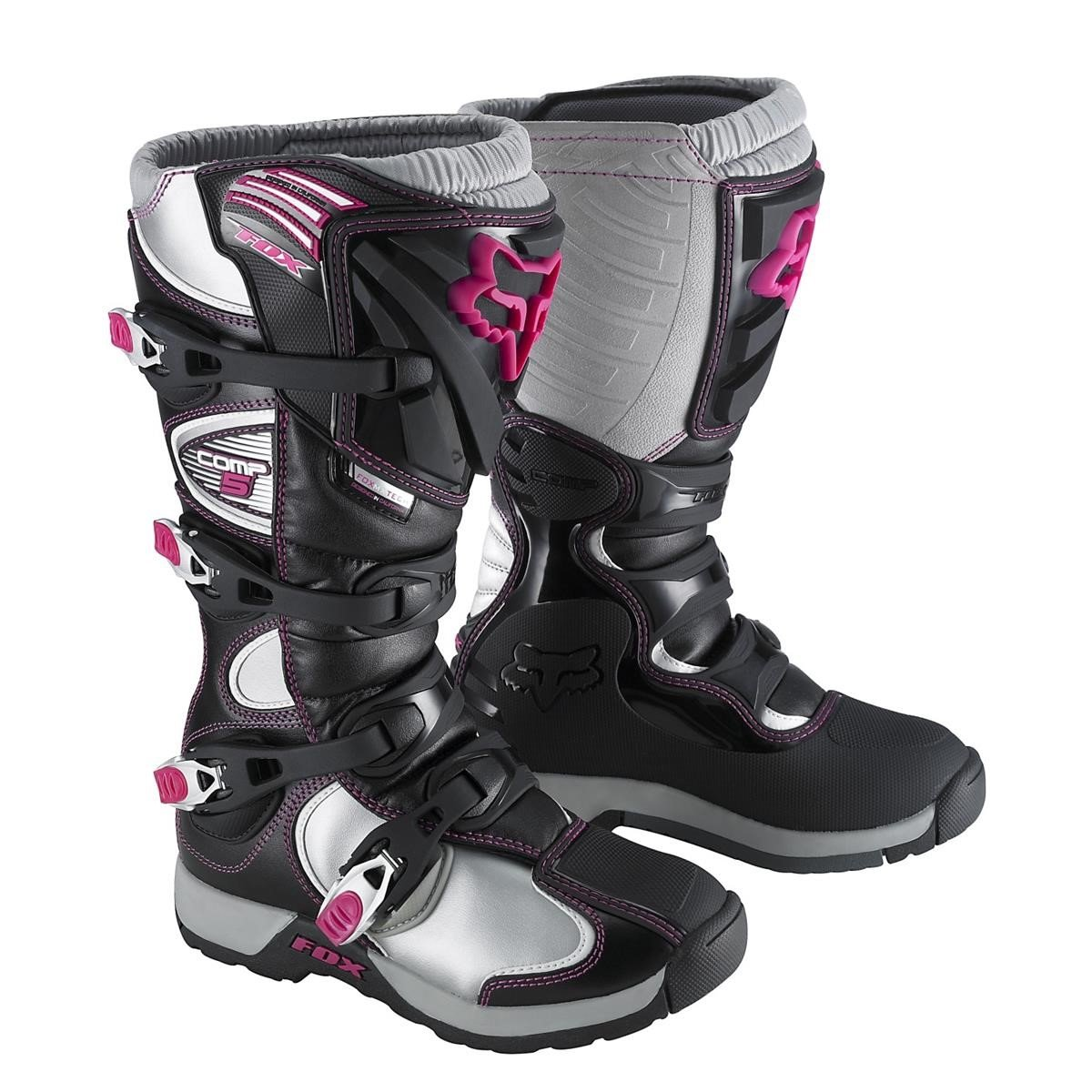 fox girls motocross stiefel comp 5 black pink 2015 maciag offroad. Black Bedroom Furniture Sets. Home Design Ideas
