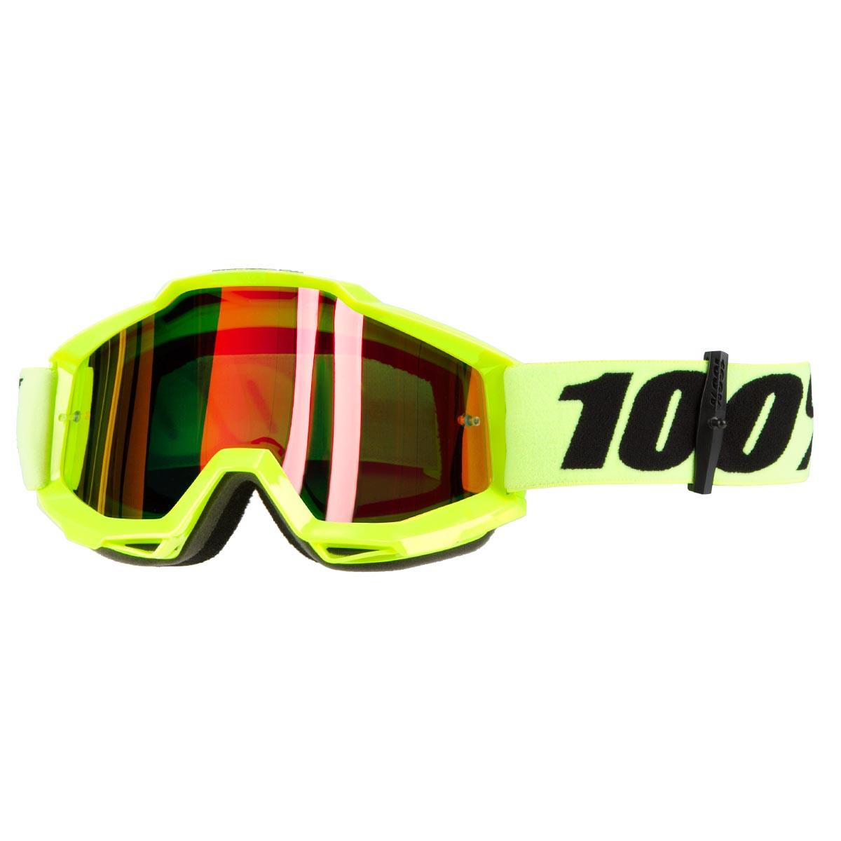 100% Crossbrille The Accuri Neongelb - Rot verspiegelt Anti-Fog