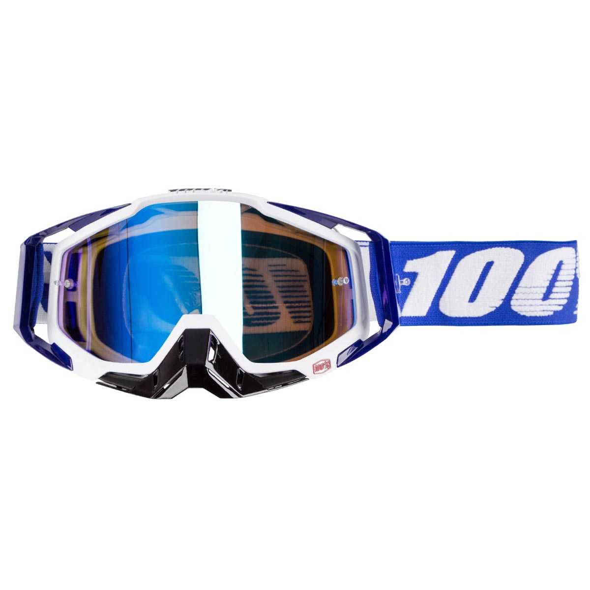 100% Crossbrille The Racecraft Cobalt Blue - Blau verspiegelt Anti-Fog