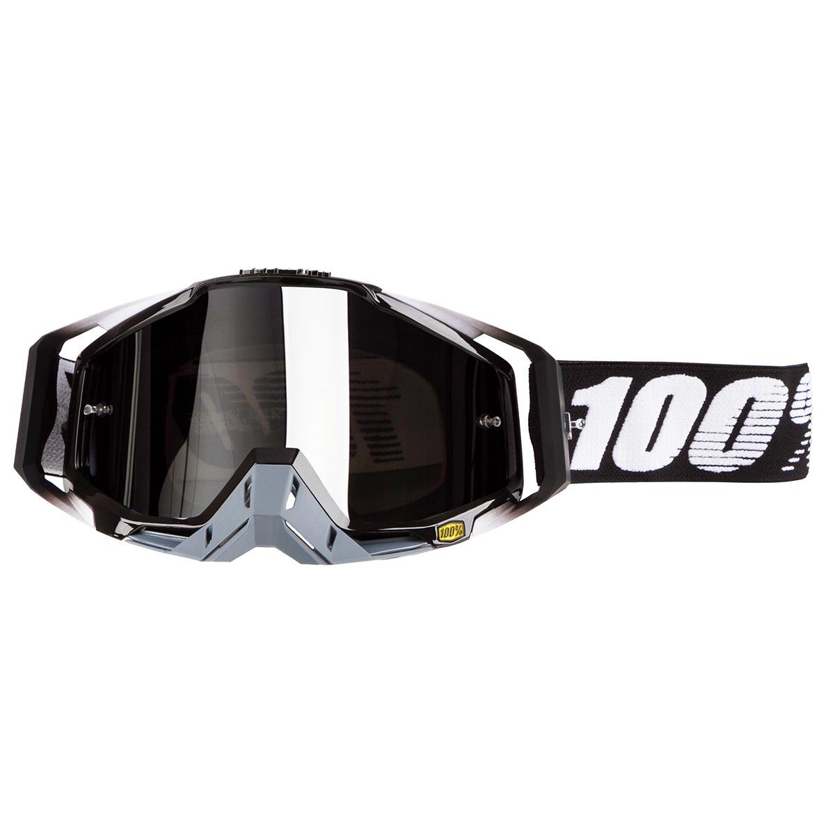 100% Crossbrille The Racecraft Abyss Black - Silber verspiegelt Anti-Fog