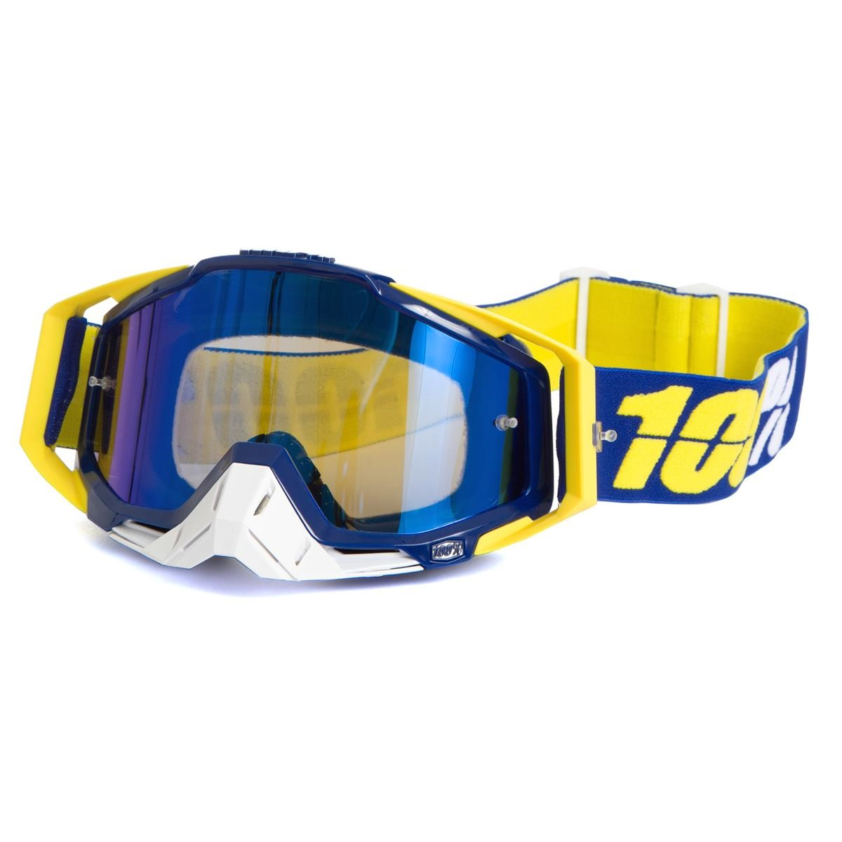 100% Crossbrille The Racecraft Lindstrom - Blau verspiegelt Anti-Fog