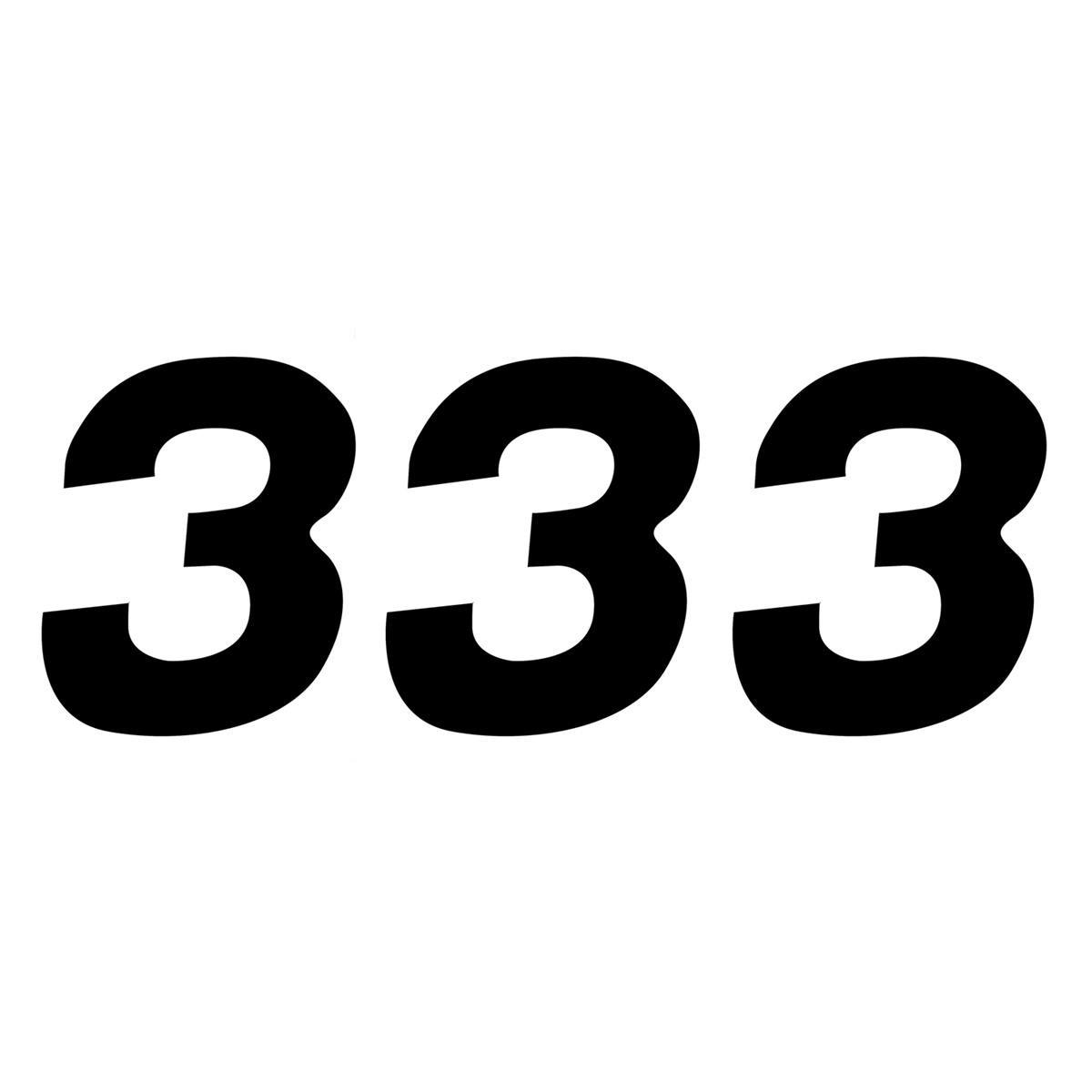 ZAP Startnummer-Set US-Style Nummer 3, Schwarz, 15 cm, 3 Stück