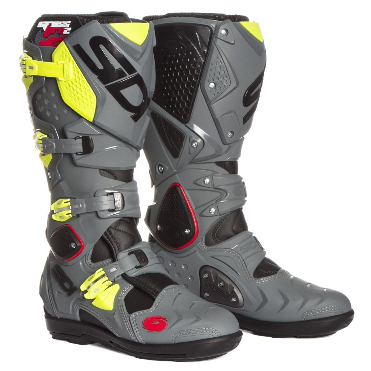 sidi mx boots crossfire 2 srs black grey yellow fluo 2017 maciag offroad. Black Bedroom Furniture Sets. Home Design Ideas