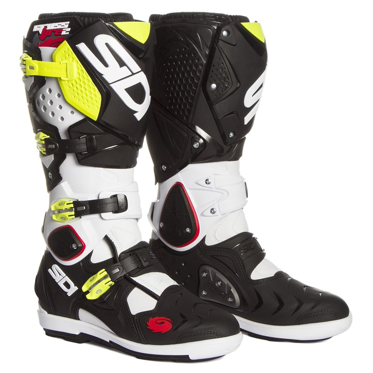 sidi mx boots crossfire 2 srs white black yellow fluo 2018 maciag offroad. Black Bedroom Furniture Sets. Home Design Ideas