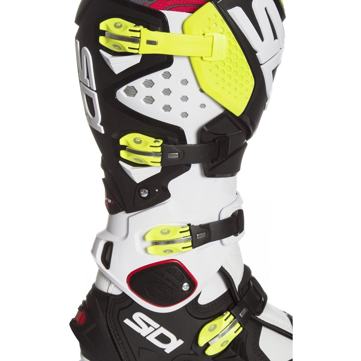 sidi mx boots crossfire 2 srs white black yellow fluo 2018. Black Bedroom Furniture Sets. Home Design Ideas