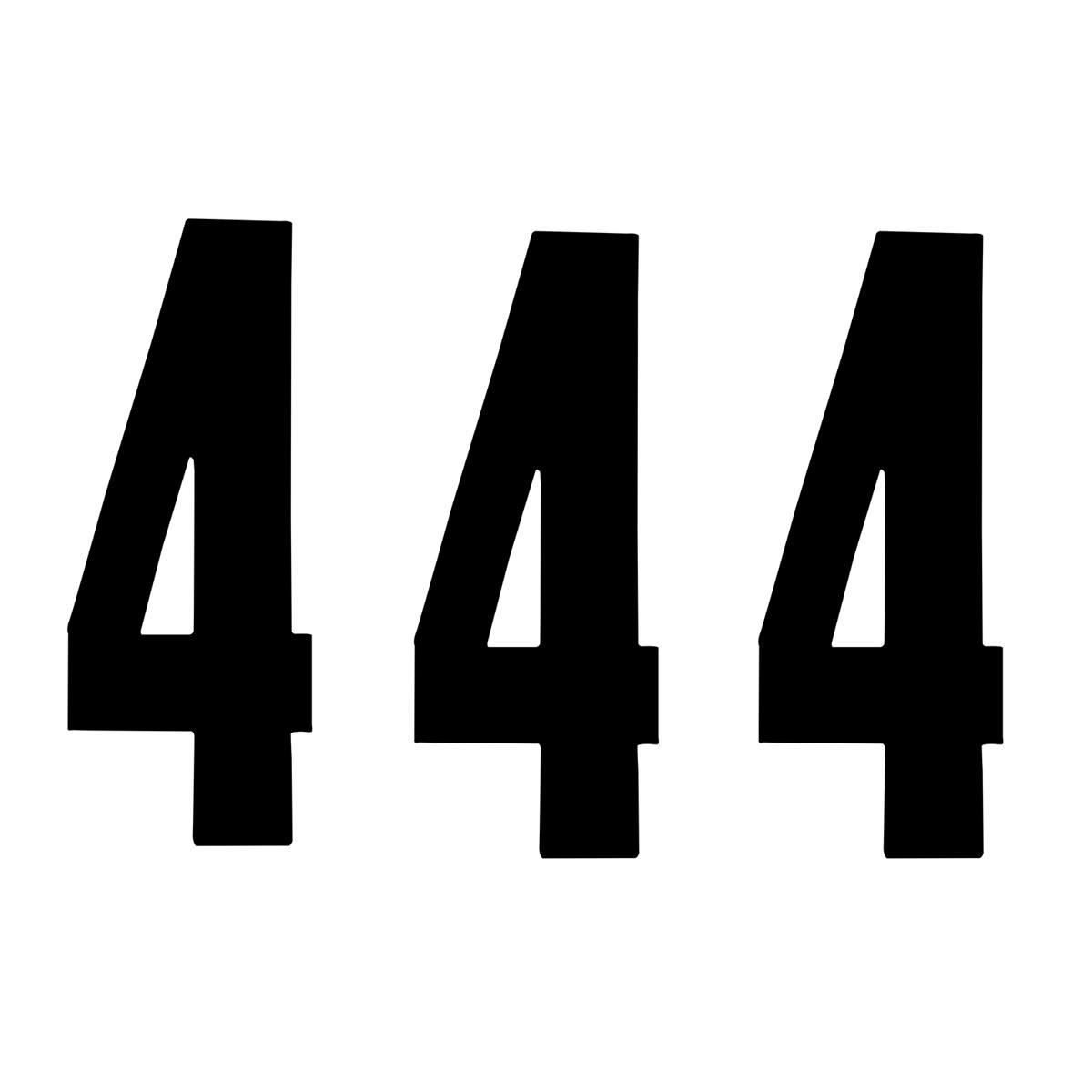 ZAP Startnummer-Set Racing Nummer 4, Schwarz, 17 cm, 3 Stück