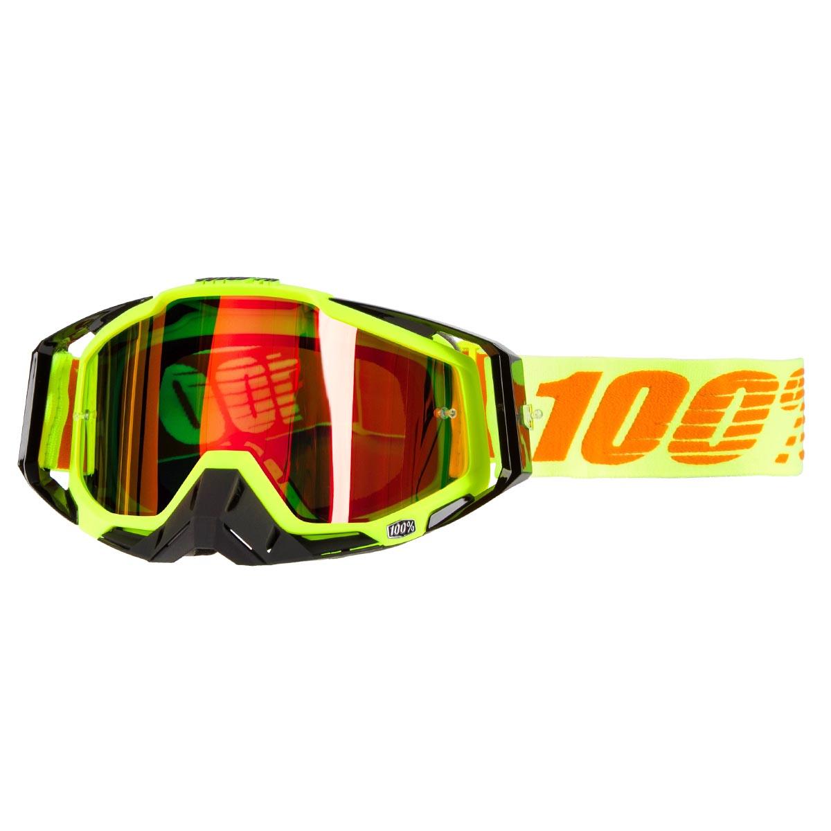 100% Crossbrille The Racecraft Attack Yellow - Rot verspiegelt Anti-Fog