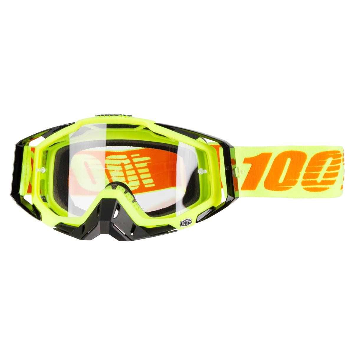 100% Crossbrille The Racecraft Attack Yellow - Klar Anti-Fog