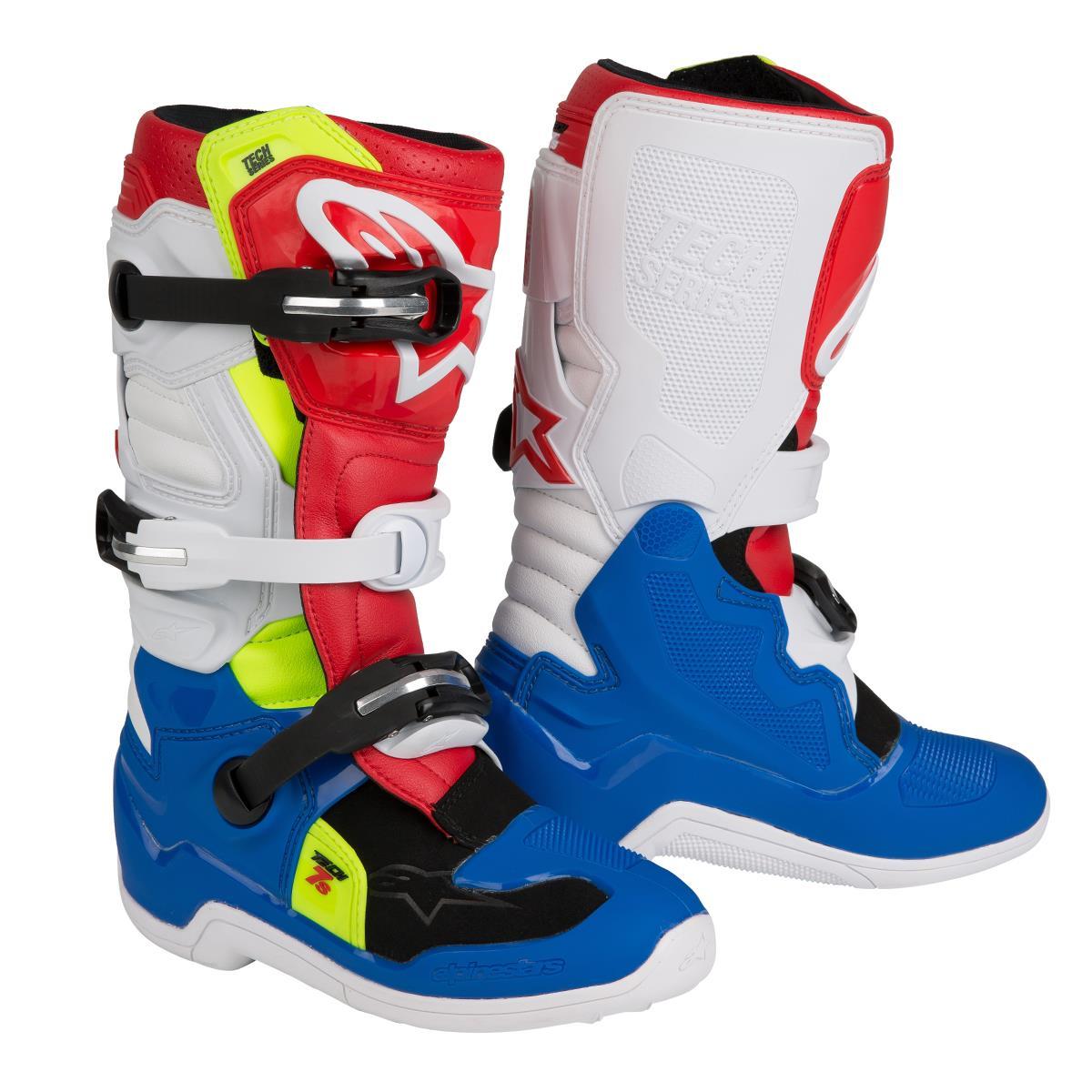 e3d044a10975a3 Alpinestars Kids MX Boots Tech 7S Blue White Red 2019