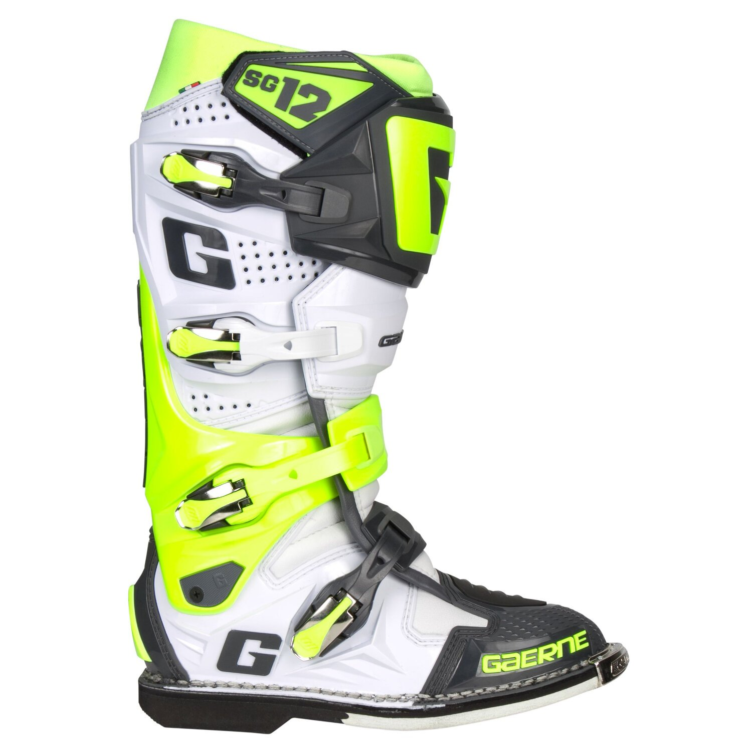 Gaerne Mx Boots Sg 12 White Fluo Yellow Grey Limited Edition