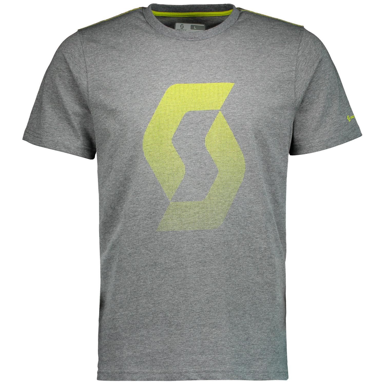 Scott T-Shirt Factory Team CO Icon Dunkelgrau meliert/Sulphur Gelb