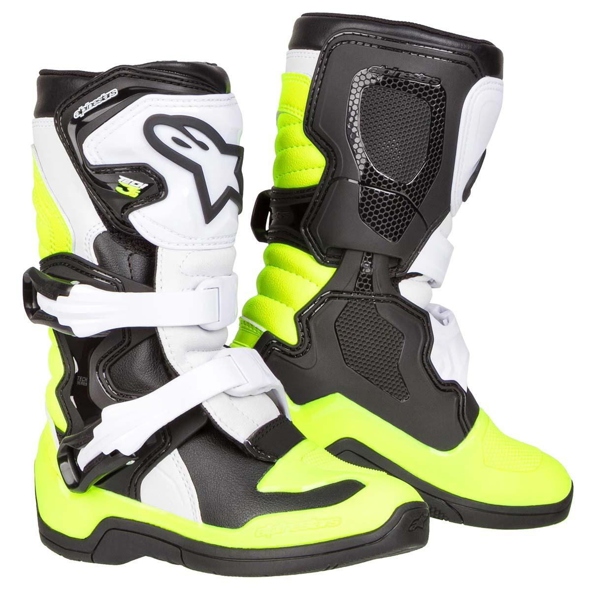7702c51169227b Alpinestars Kids MX Boots Tech 3S Black White Yellow Fluo 2019 ...