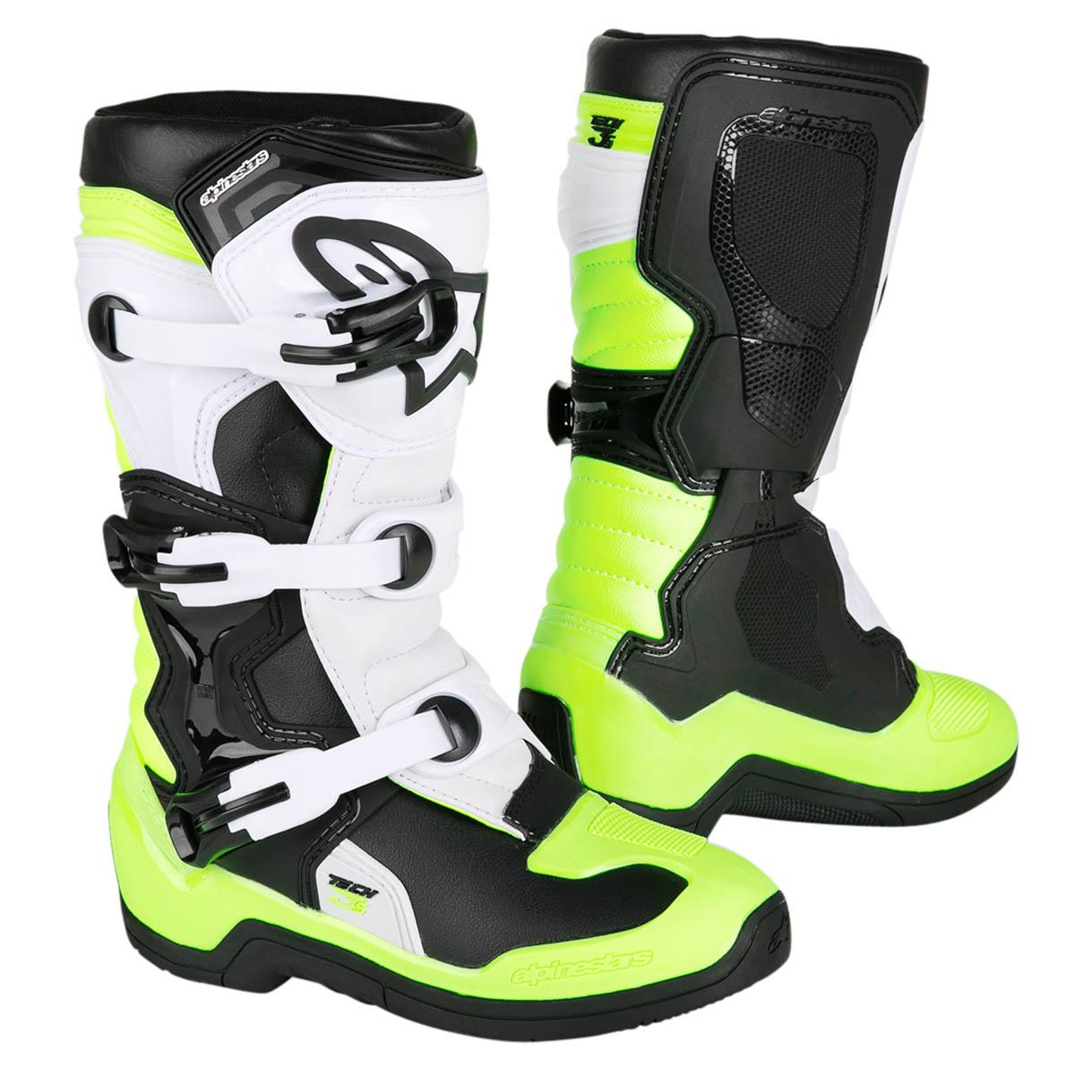 3872b7373a56e8 Alpinestars Kids MX Boots Tech 3S Youth Black White Yellow Fluo 2019 ...