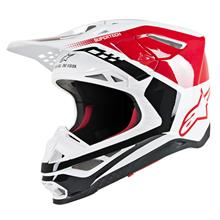 Alpinestars Supertech M8 Helm Triple - Rot/Weiß Gloss 2019