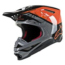 Alpinestars Supertech M8 Helm Triple - Orange/Grau/Schwarz Gloss 2019