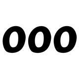 ZAP US-Style Startnummer-Set Nummer 0, Schwarz, 10 cm, 3 Stück