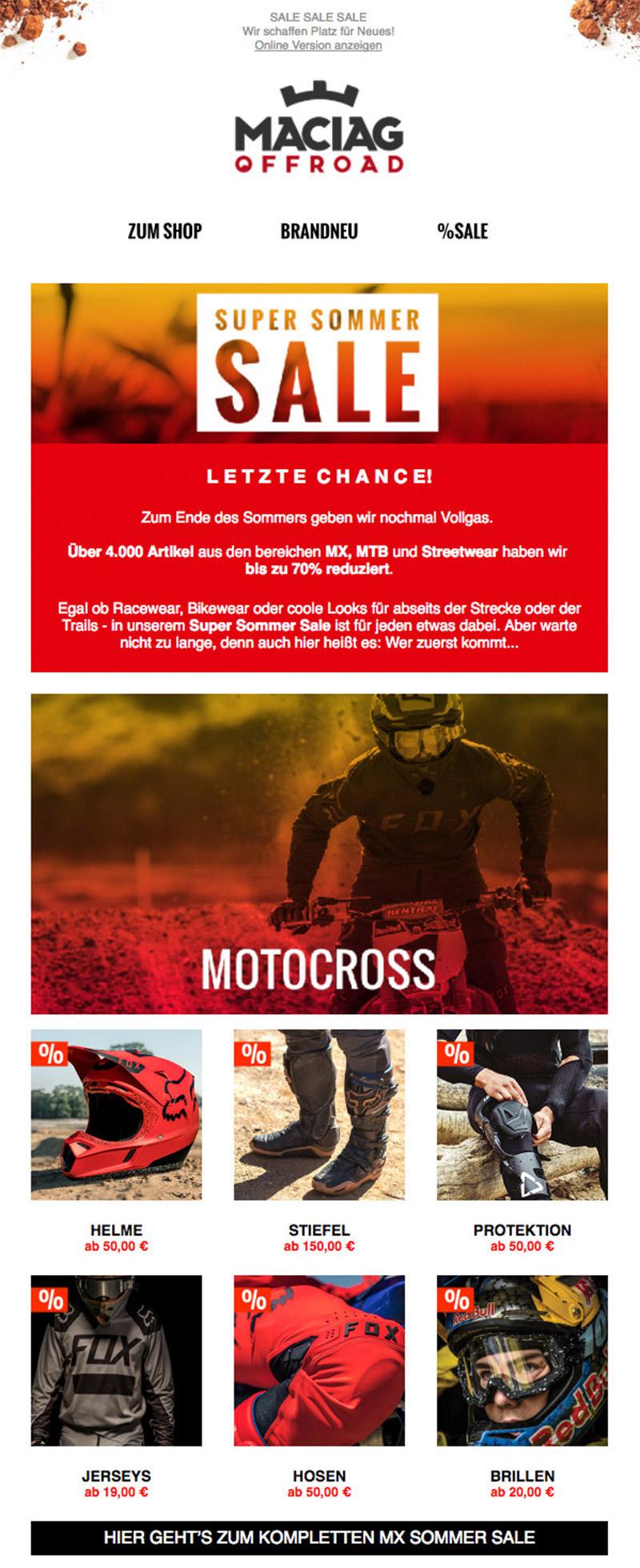 Newsletter Motocross & Mountainbike Vorschau